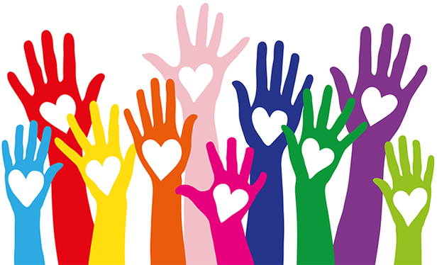 Colorful hands with heart shapes in palms